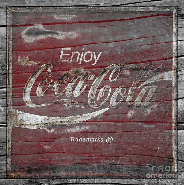Wall Art - Photograph - Weathered Coca Cola Sign by John Stephens