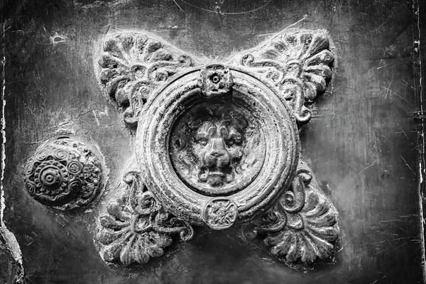 Doorknob Photograph - Weathered Door Knocker Toulouse France Black And White by Carol Japp