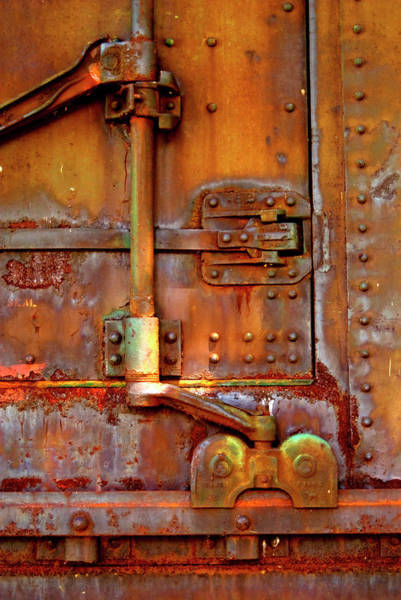 Wall Art - Photograph - Weathered Railroad Boxcar Door Latch by Paul W Faust - Impressions of Light
