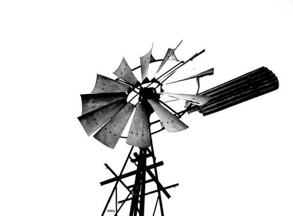 Weathered Windmill - B-w Art Print