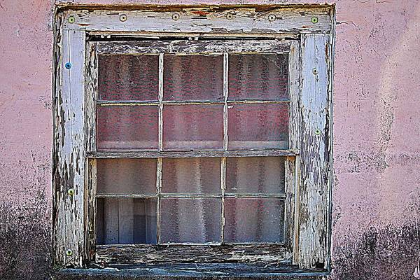 Photograph - Weathered Window On Pink Building by Cynthia Guinn
