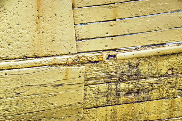 Photograph - Weathered Yellow Ship's Hull by Frans Blok