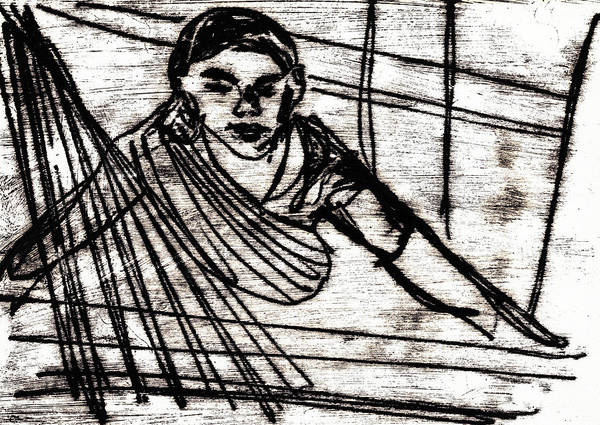 Drawing - Weaver Working At Her Machine by Artist Dot