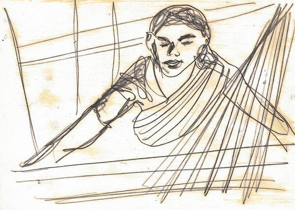Drawing - Weaver Working At Her Weaving Machine by Artist Dot