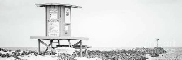 Wall Art - Photograph - Wedge Lifeguard Tower W Newport Beach Black And White Panorama by Paul Velgos