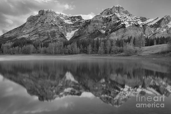 Photograph - Wedge Pond Sunrise Reflections Black And White by Adam Jewell