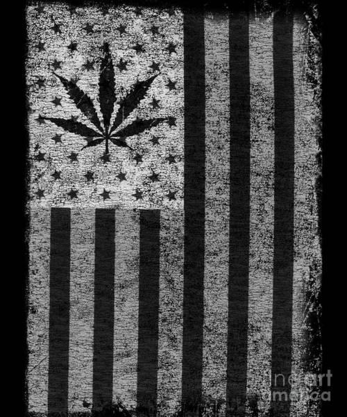 Weed Leaf American Flag Us Art Print
