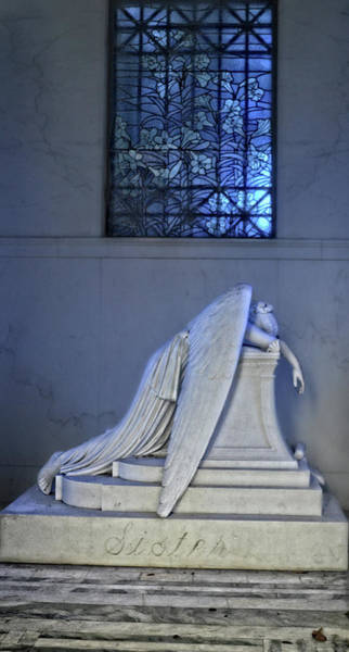 Photograph - Weeping Angel With Stained Glass by Maggy Marsh