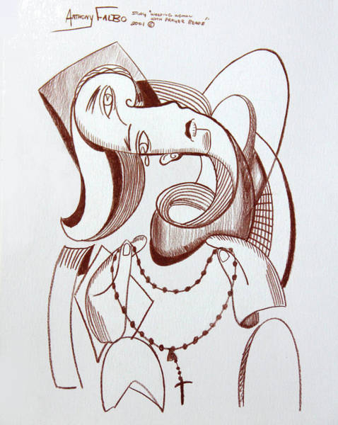 Wall Art - Drawing - Weeping Woman With Prayer Beads by Anthony Falbo