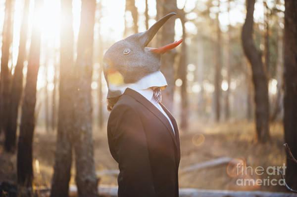 Success Wall Art - Photograph - Weird Businessman Wearing A Bird Rubber by Anastasianess