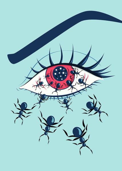 Blue Bug Digital Art - Weird Creepy Red Eye With Crawling Ants by Boriana Giormova