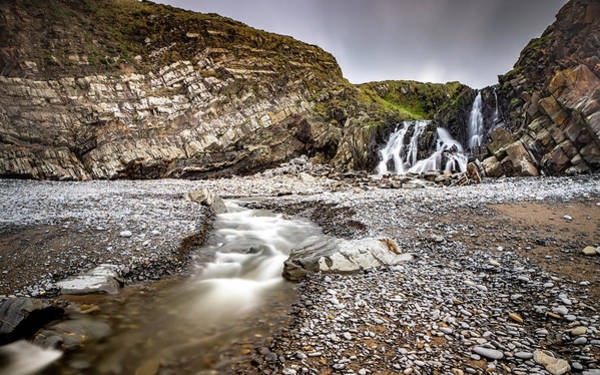 Photograph - Welcombe Mouth Beach Waterfall by Framing Places