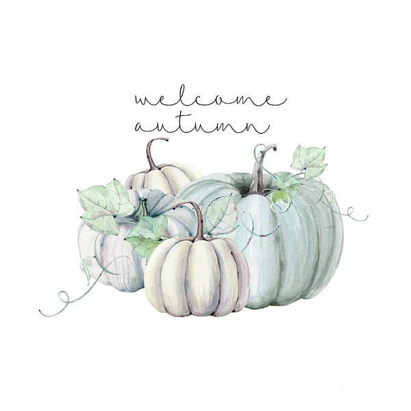 Thanksgiving Digital Art - Welcome Autumn Blue Pumpkin by Sylvia Cook