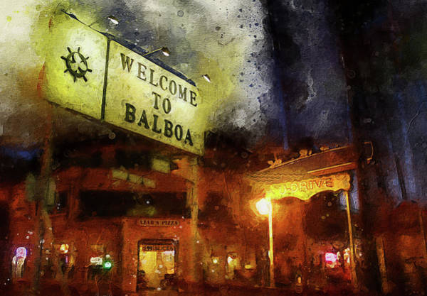 Welcome Sign Digital Art - Welcome To Balboa by Ron Regalado