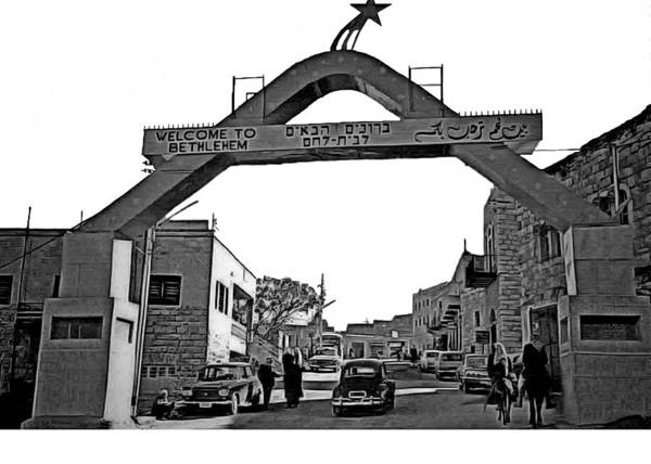 Wall Art - Photograph - Welcome To Bethlehem Black And White by Munir Alawi