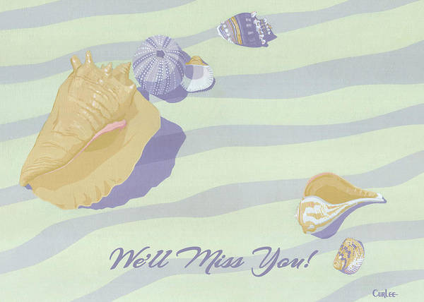 Wall Art - Painting - We'll Miss You Greeting Card - Beach Seashells by Walt Curlee