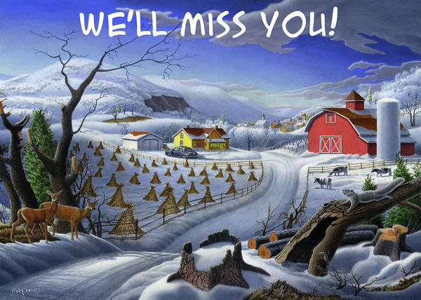 Wall Art - Painting - We'll Miss You Greeting Card - Deer Wildlife Winter Rural Farm Landscape by Walt Curlee