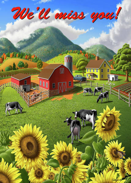 Wall Art - Photograph - We'll Miss You Greeting Card - Sunflowers Cows Rural Farm Landscape by Walt Curlee