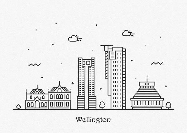 Drawing - Wellington Cityscape Travel Poster by Inspirowl Design