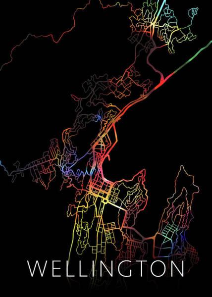 Wall Art - Mixed Media - Wellington New Zealand Watercolor City Street Map Dark Mode by Design Turnpike