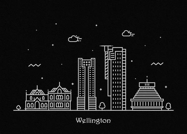 Wall Art - Digital Art - Wellington Skyline Travel Poster by Inspirowl Design