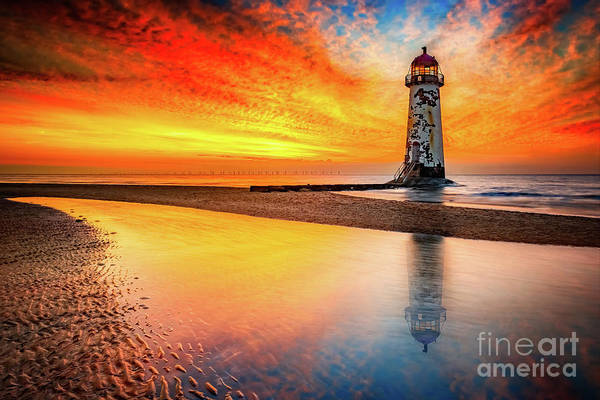 Wall Art - Photograph - Welsh Lighthouse Sunset by Adrian Evans