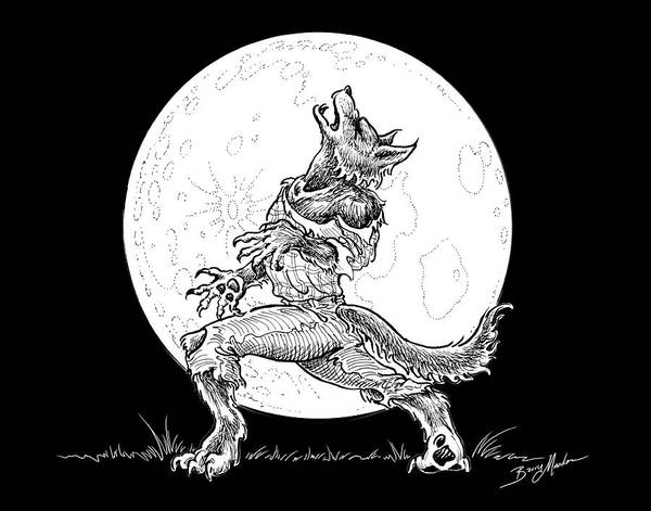 Drawing - Werewolf by Barry Munden