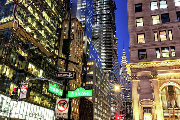 Photograph - West 42nd Street At Night In New York City by John Rizzuto