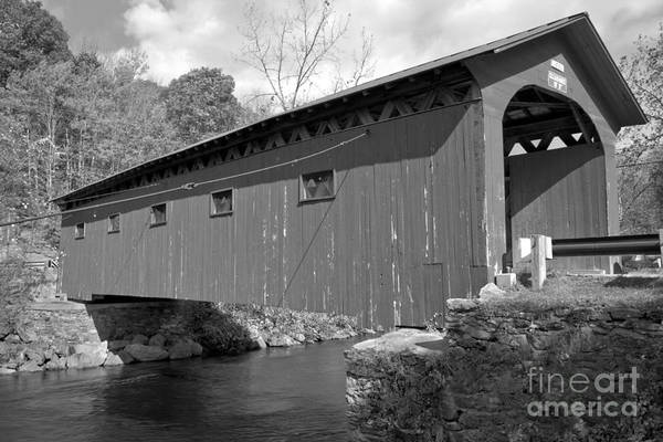 Photograph - West Arlington Covered Bridge Black And White by Adam Jewell