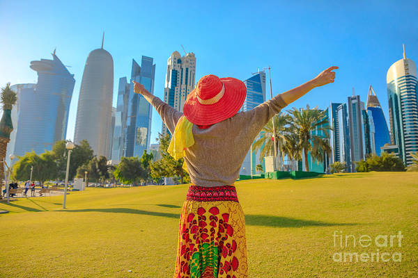 Photograph - West Bay Corniche Woman by Benny Marty