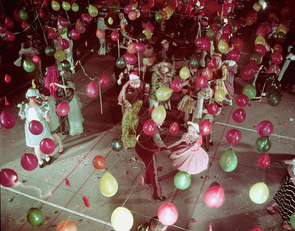 Photograph - West Coast Youth Dancing Under Balloons by Loomis Dean