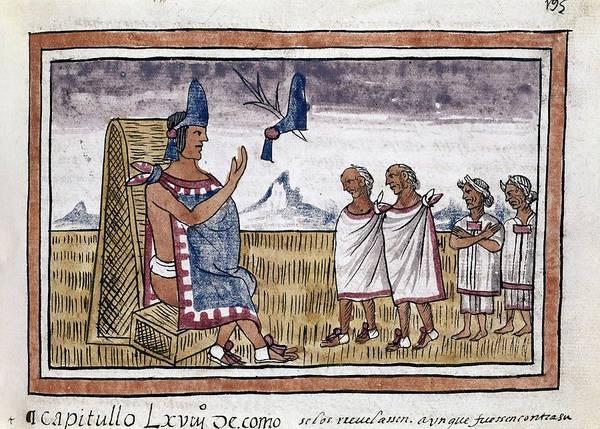 West India History Of New Spain - Folio 195. Diego Duran . Moctezuma II. Art Print