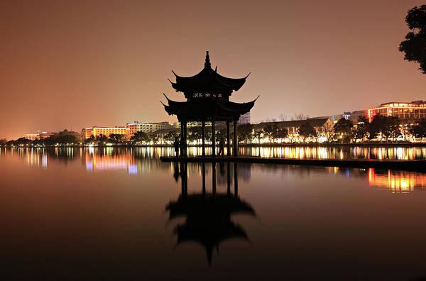 Chinese Pavilion Photograph - West Lake Hangzhou by Krzysztof Baranowski