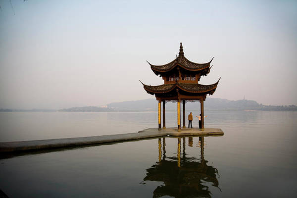 Chinese Pavilion Photograph - West Lake by Zou Yanju