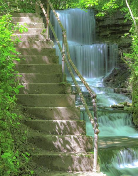 Photograph - West Milton Waterfall Stairs by Dan Sproul