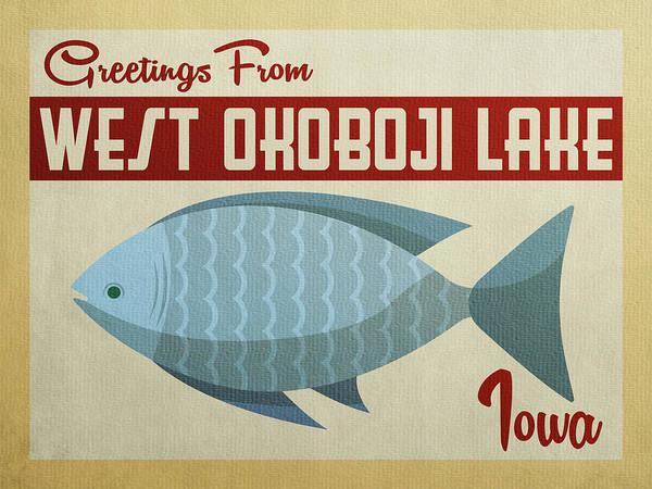 Wall Art - Digital Art - West Okoboji Lake Iowa Blue Fish by Flo Karp