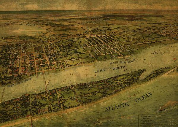 Wall Art - Mixed Media - West Palm Beach Florida Vintage City Street Map 1915 by Design Turnpike