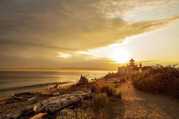 Digital Art - West Point Lighthouse Beach, Seattle by Michael Lee