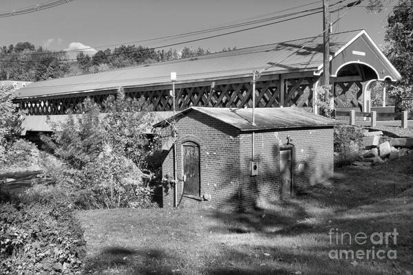 Photograph - West Swanzey Covered Bridge Black And White by Adam Jewell