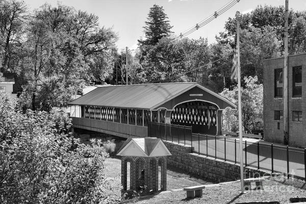 Photograph - West Swanzey Main Street Covered Bridge Black And White by Adam Jewell