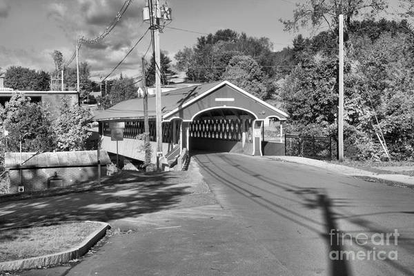 Photograph - West Swanzey Thompson Covered Bridge Black And White by Adam Jewell