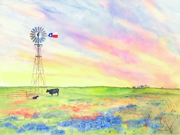 Painting - West Texas Ranch Landscape Windmill by Carlin Blahnik CarlinArtWatercolor