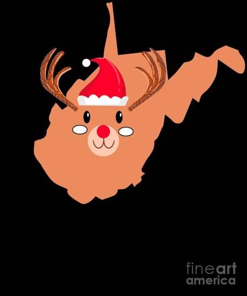 Ugly Digital Art - West Virginia Christmas Hat Antler Red Nose Reindeer by TeeQueen2603