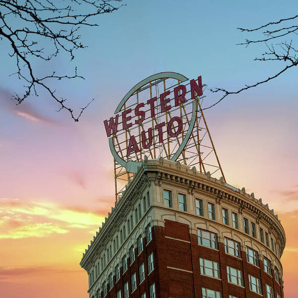 Photograph - Western Auto Neon Sign At Sunrise - Downtown Kansas City by Gregory Ballos
