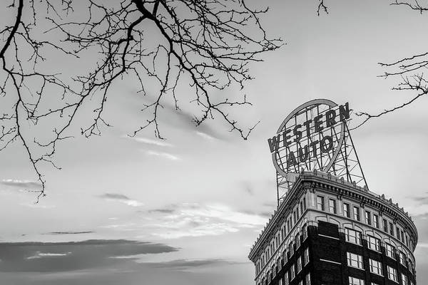 Photograph - Western Auto Sign Monochrome - Downtown Kansas City by Gregory Ballos
