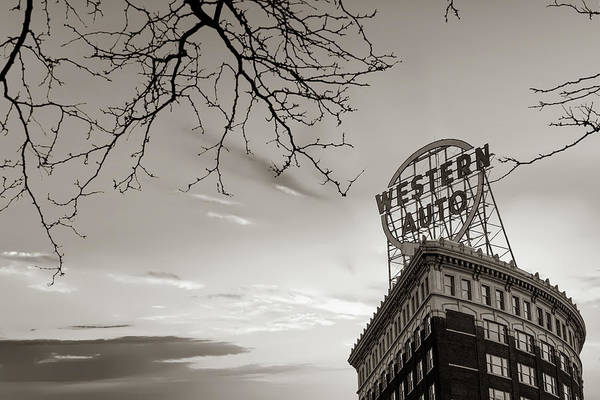Photograph - Western Auto Sign Sepia - Downtown Kansas City by Gregory Ballos