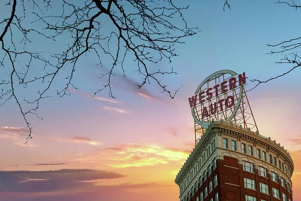 Photograph - Western Auto Sign Sunrise - Downtown Kansas City by Gregory Ballos