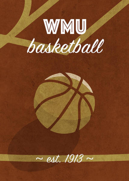 Wall Art - Mixed Media - Western Michigan University Retro College Basketball Team Poster by Design Turnpike