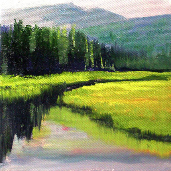 Wall Art - Painting - Western River Landscape by Nancy Merkle