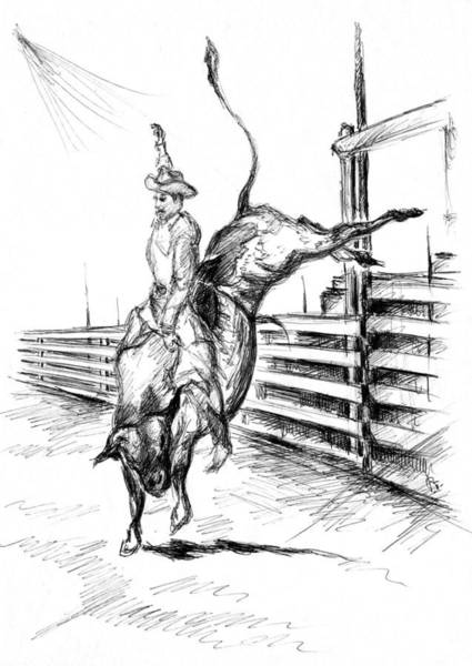 Drawing - Western Rodeo Bull Ride - Pencil Drawing by Peter Potter